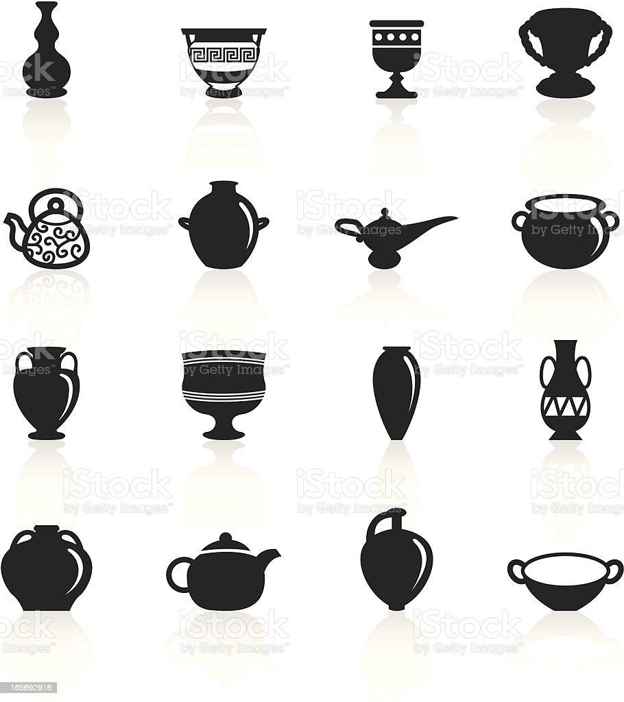Black Symbols - Ancient Pottery vector art illustration