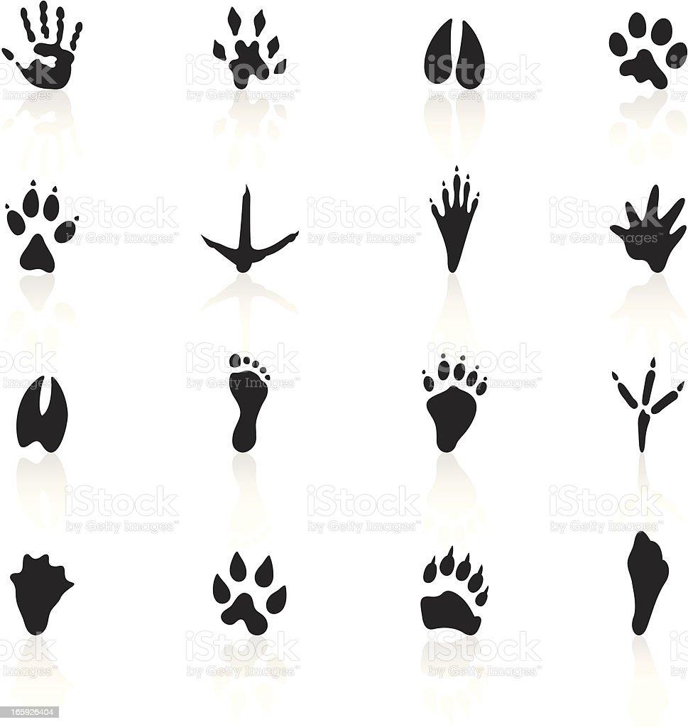 Black Symbols - Animal Tracks vector art illustration
