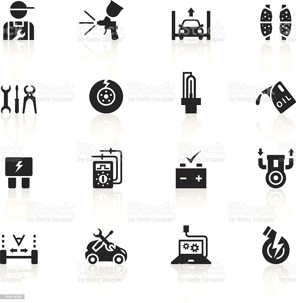 Black Symbols - Automobile Repair Shop vector art illustration