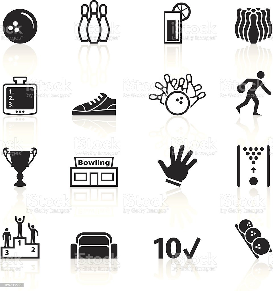 Black Symbols - Bowling royalty-free stock vector art