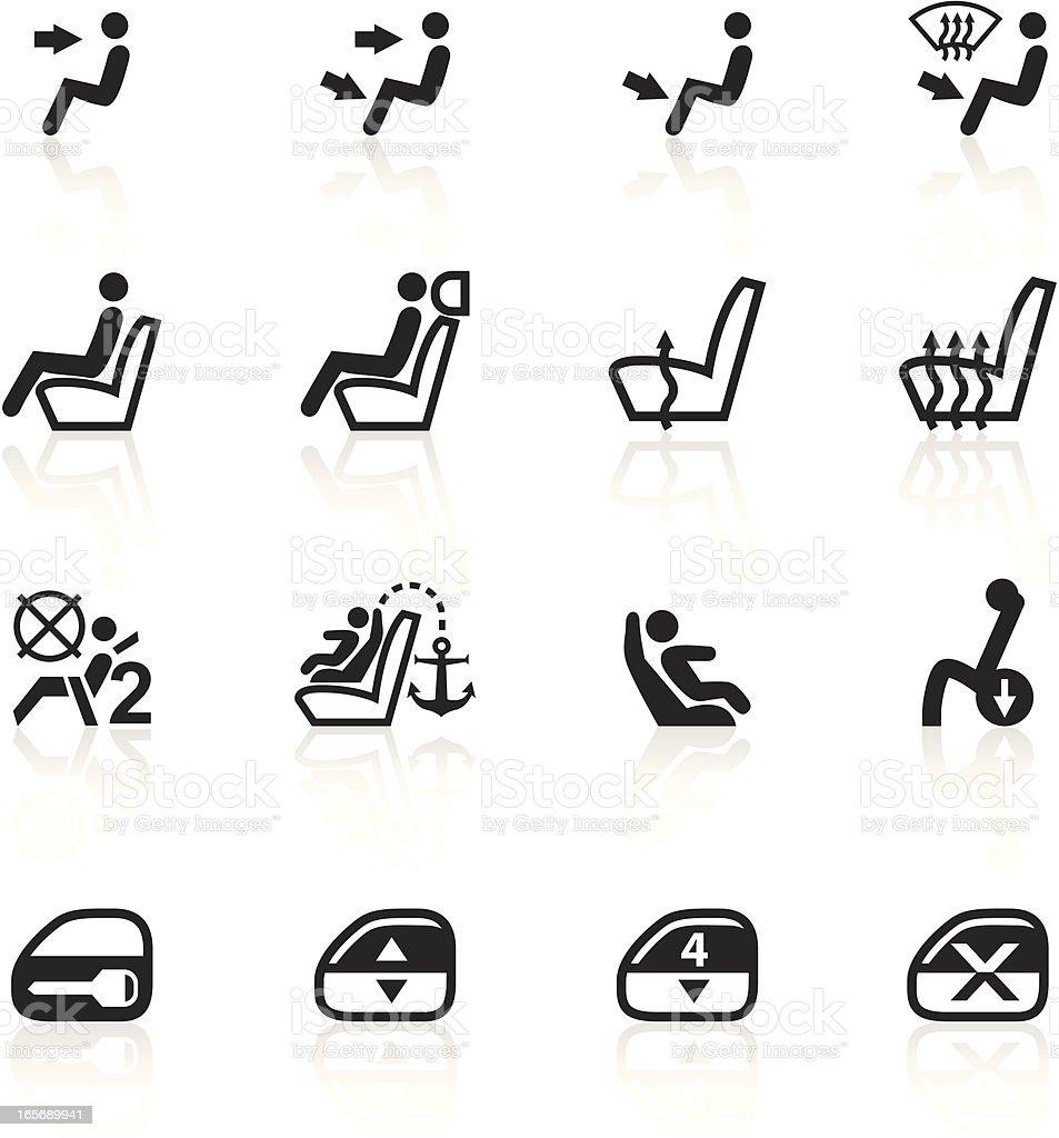 Black Symbols - Car Control Indicators vector art illustration