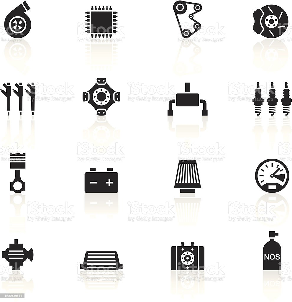 Black Symbols - Car Performance Parts vector art illustration