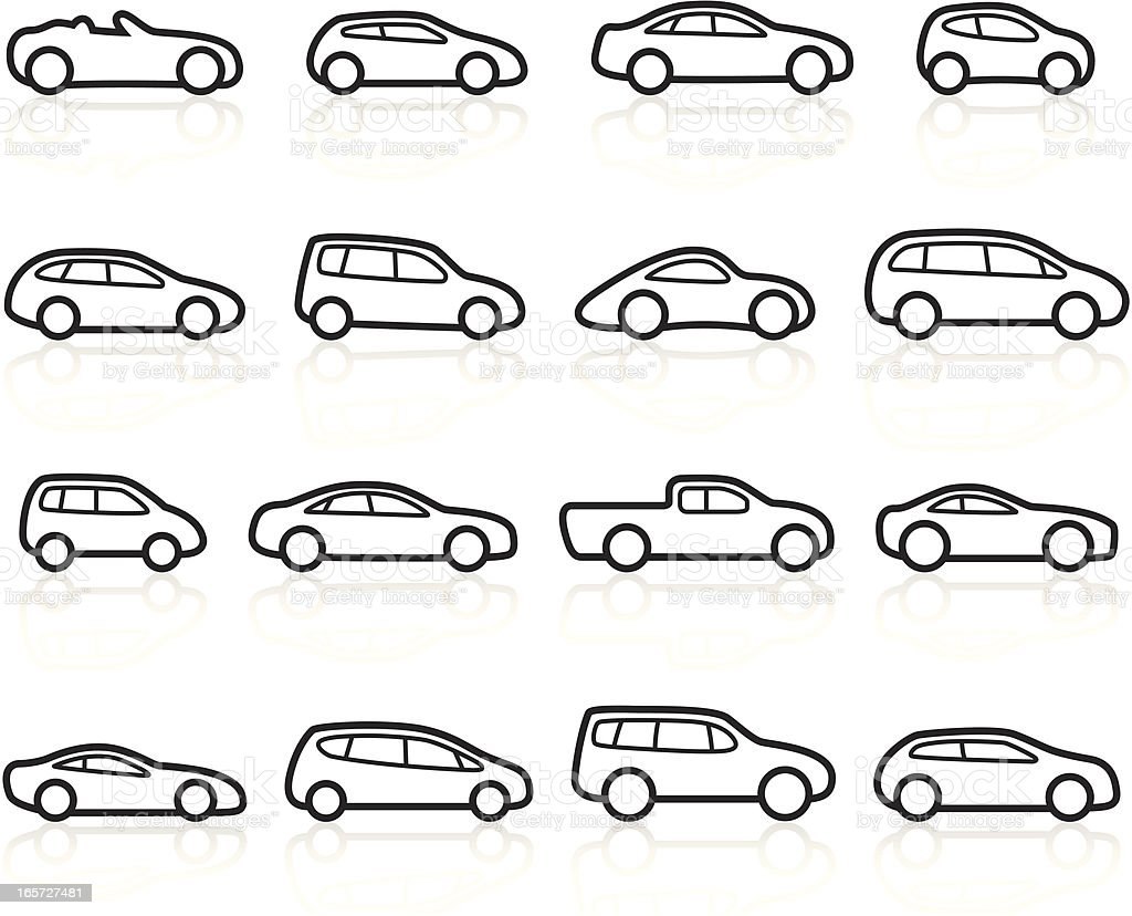 Black Symbols - Cars vector art illustration