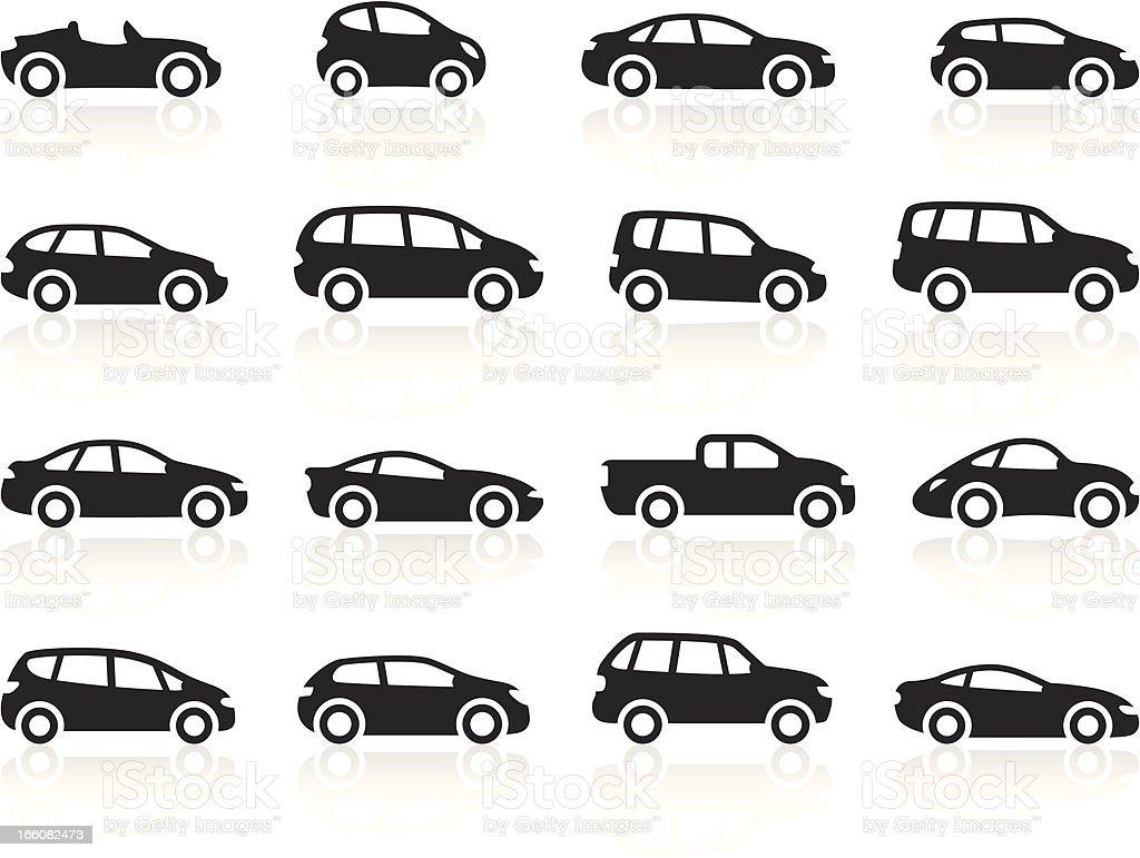 Black Symbols - Cartoon Cars vector art illustration