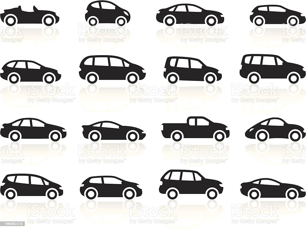 Black Symbols - Cartoon Cars vector art illustration