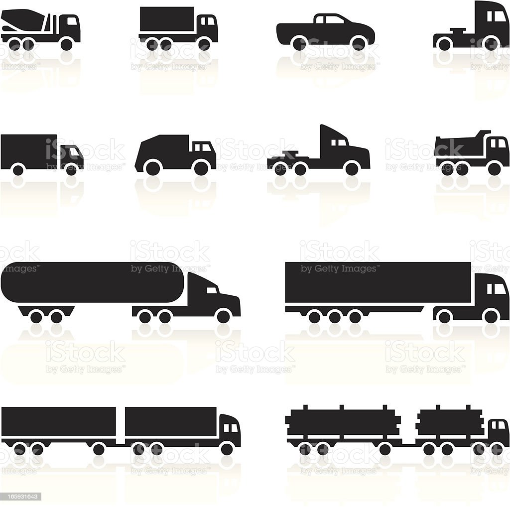 Black Symbols - Cartoon Trucks vector art illustration