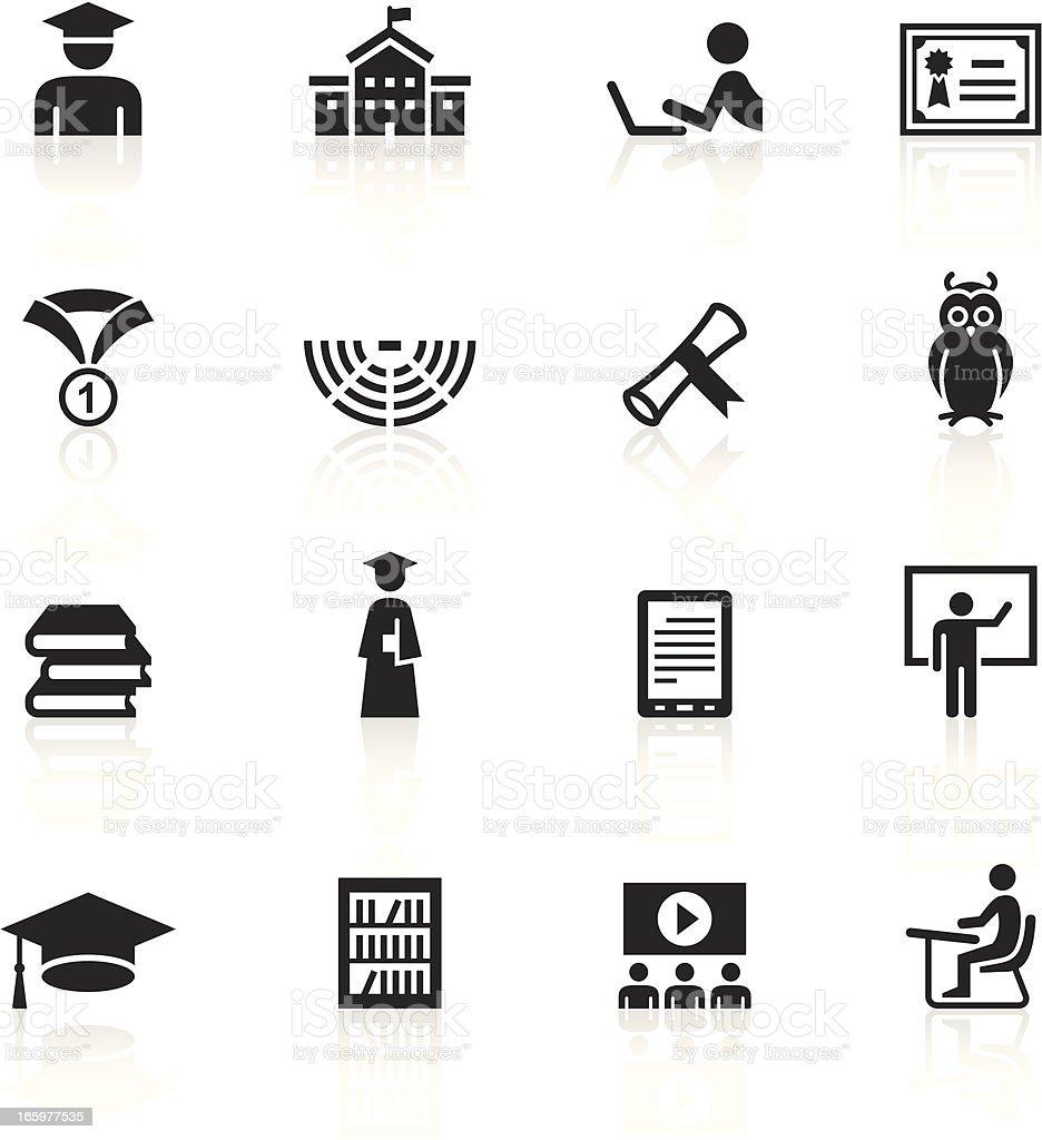 Black Symbols - College & Students vector art illustration
