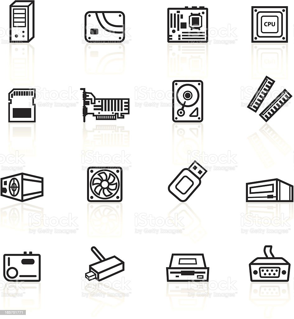 Black Symbols - Computer Components vector art illustration