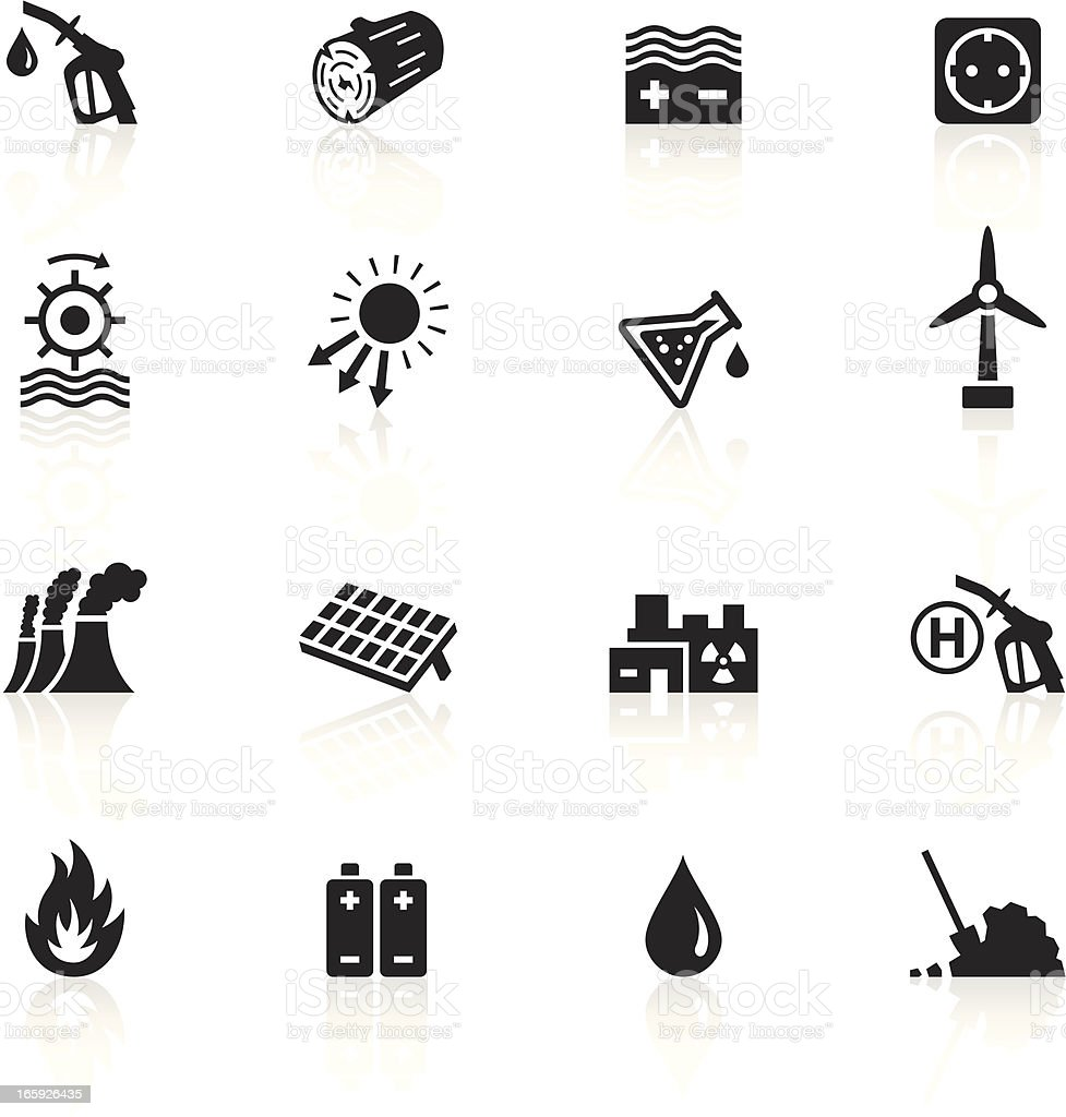Black Symbols - Energy Sources vector art illustration