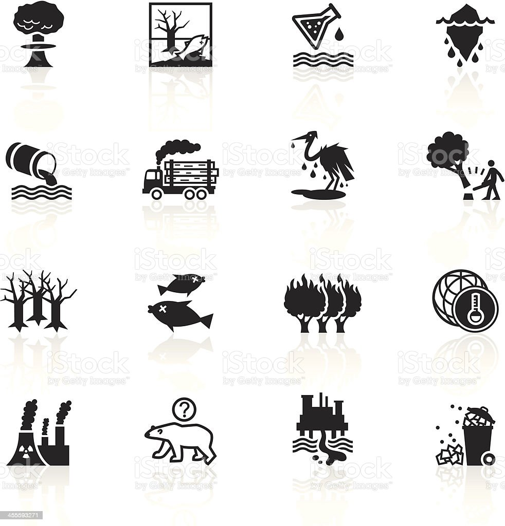 Black Symbols - Environmental Damage vector art illustration
