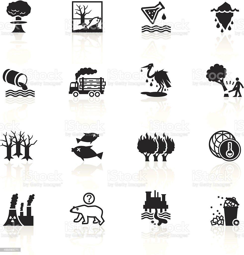 Black Symbols - Environmental Damage vector art illustration