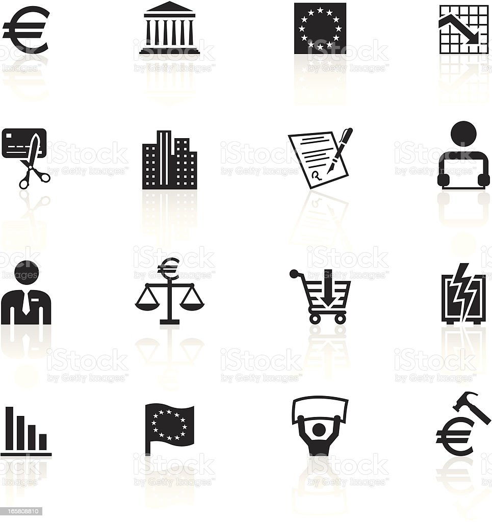 Black Symbols - European Union Recession vector art illustration