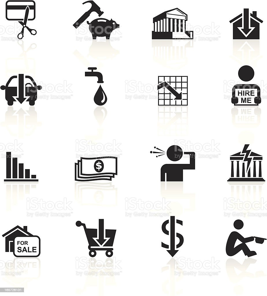 Black Symbols - Financial & Economic Crisis vector art illustration