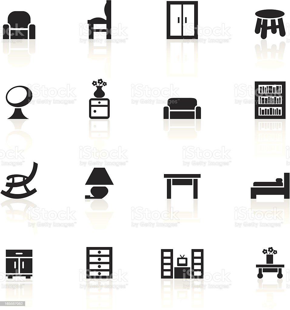 Black Symbols - Furniture royalty-free stock vector art