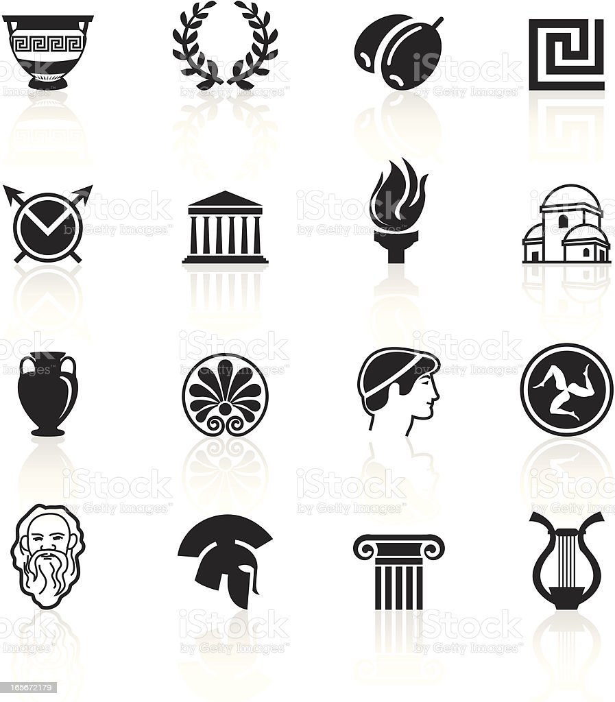 Black Symbols - Greece vector art illustration