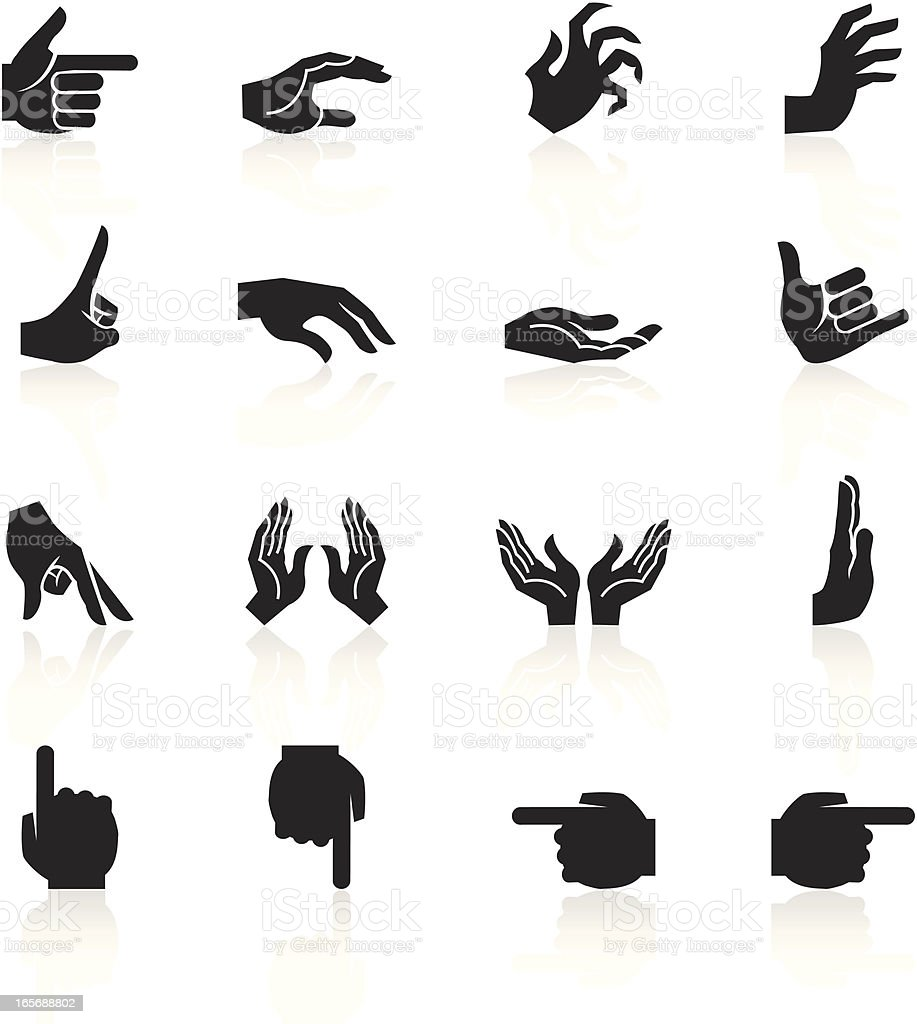 Black Symbols - Hands and Fingers royalty-free stock vector art