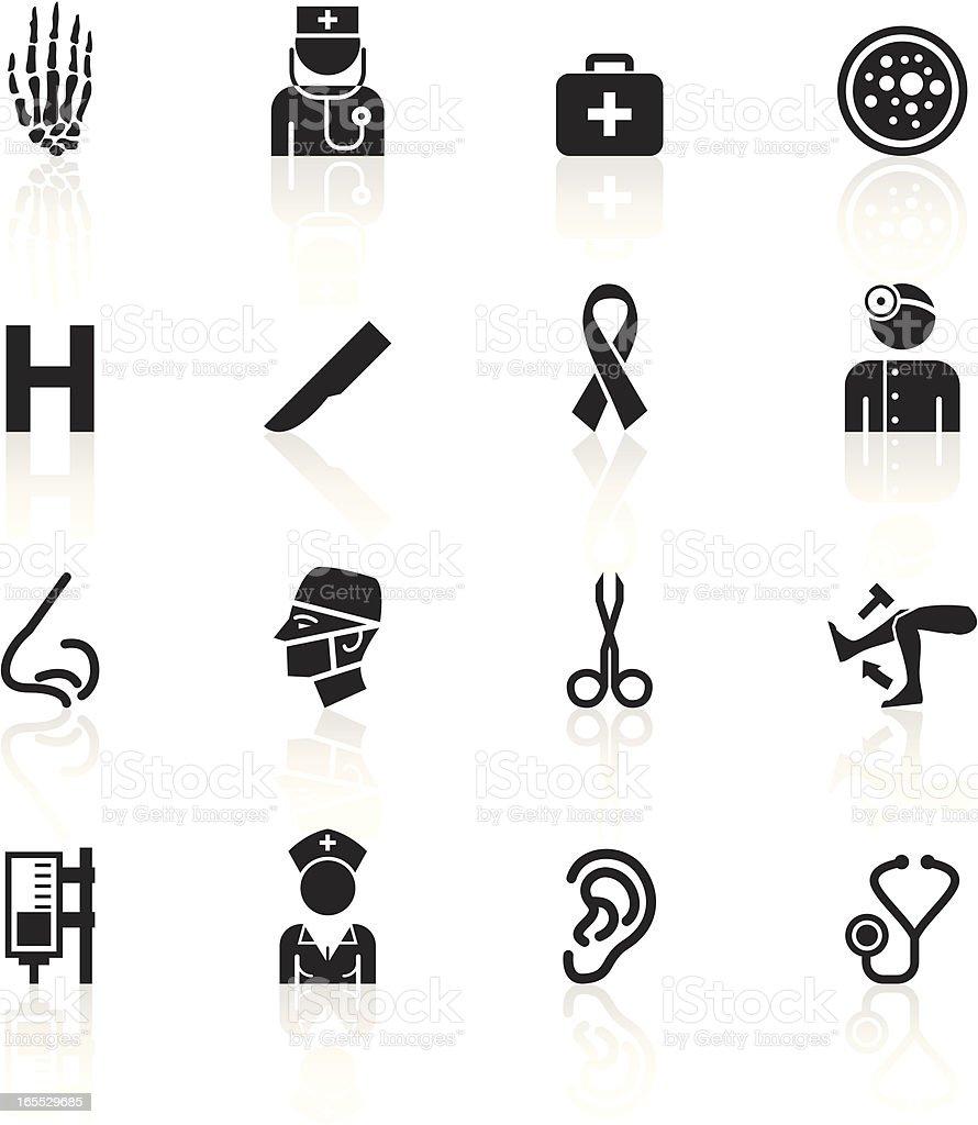 Black Symbols - Hospital vector art illustration