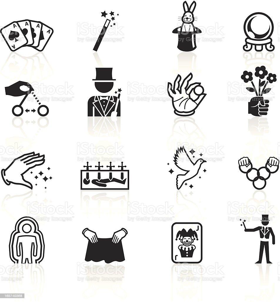 Black Symbols - Illusionism and Magic vector art illustration