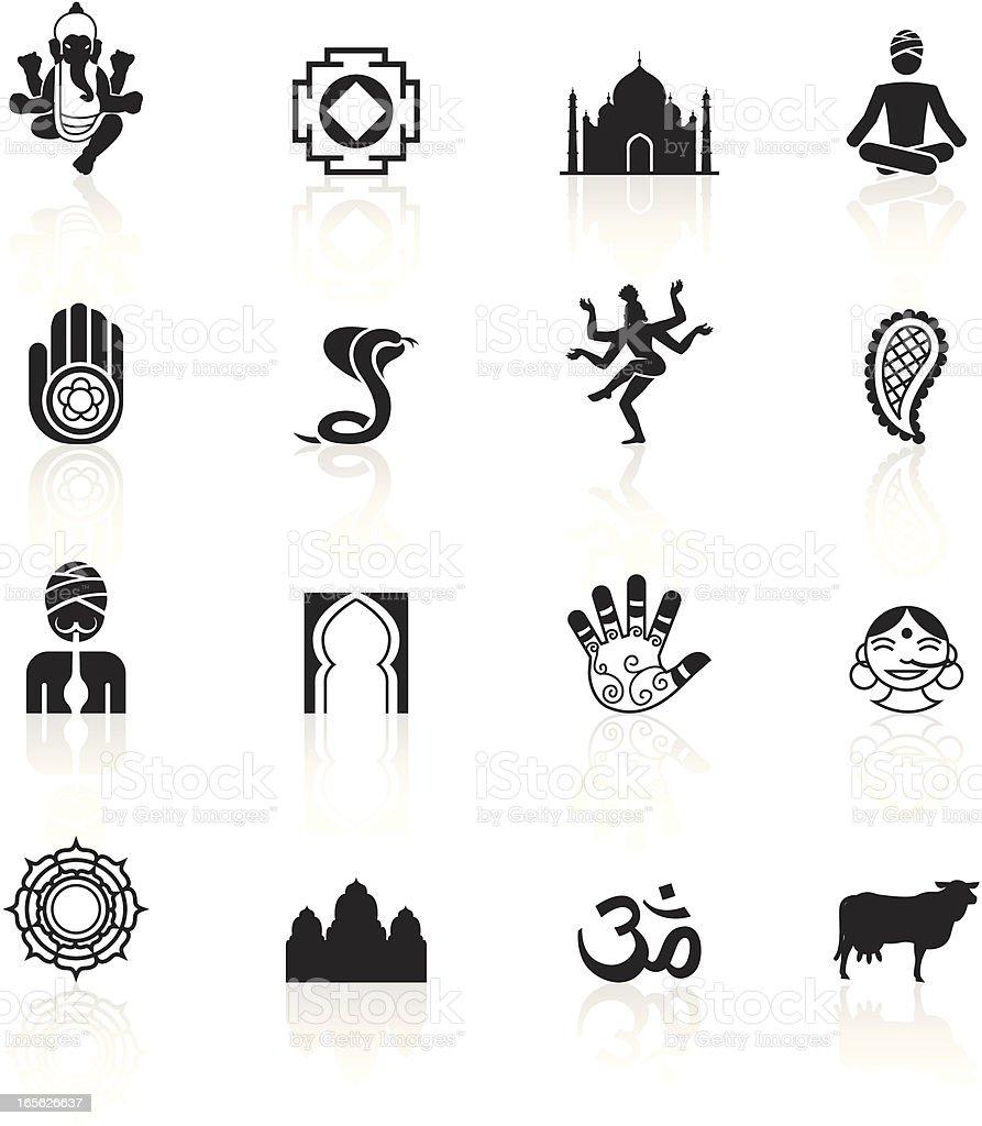 Black Symbols - India vector art illustration