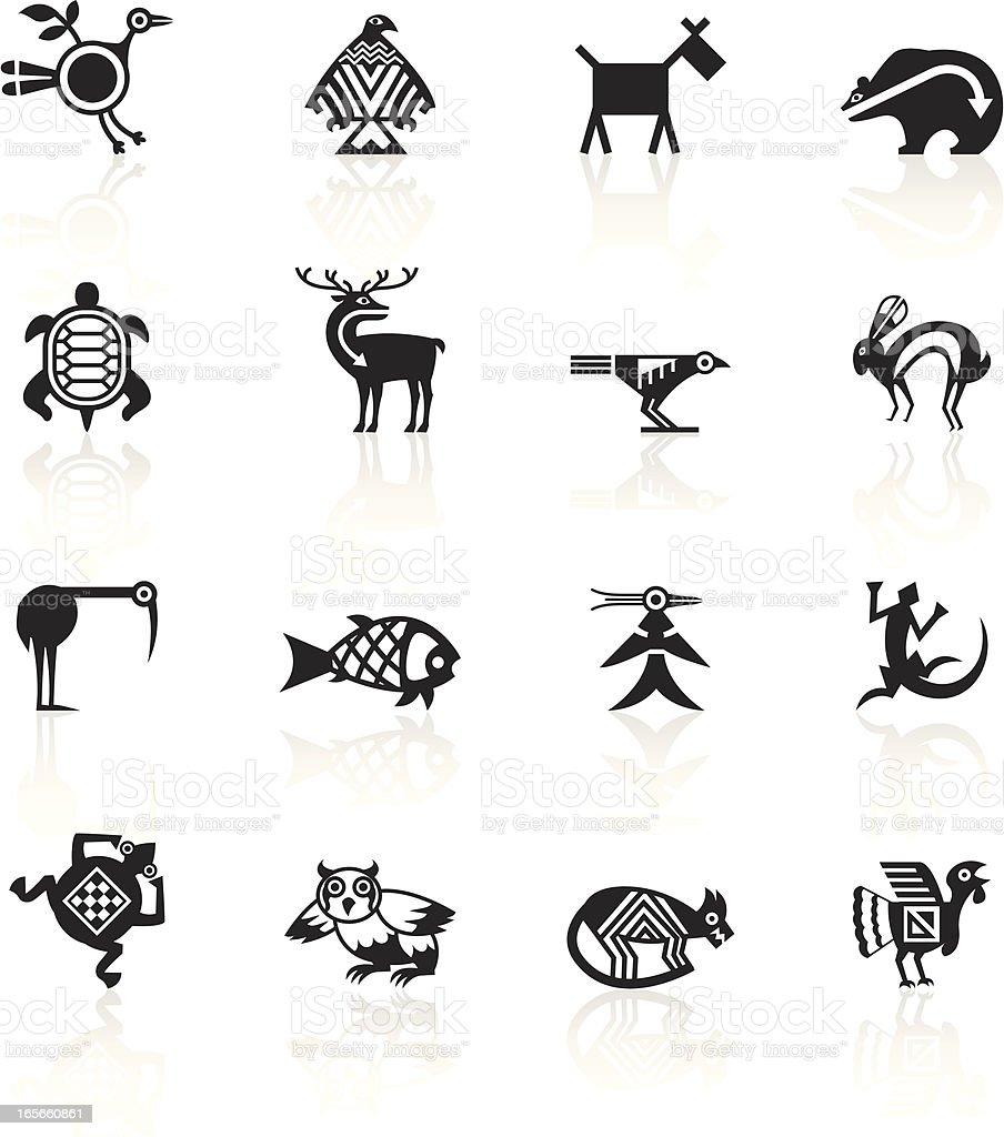 Black Symbols - Indian Tribal Animals vector art illustration