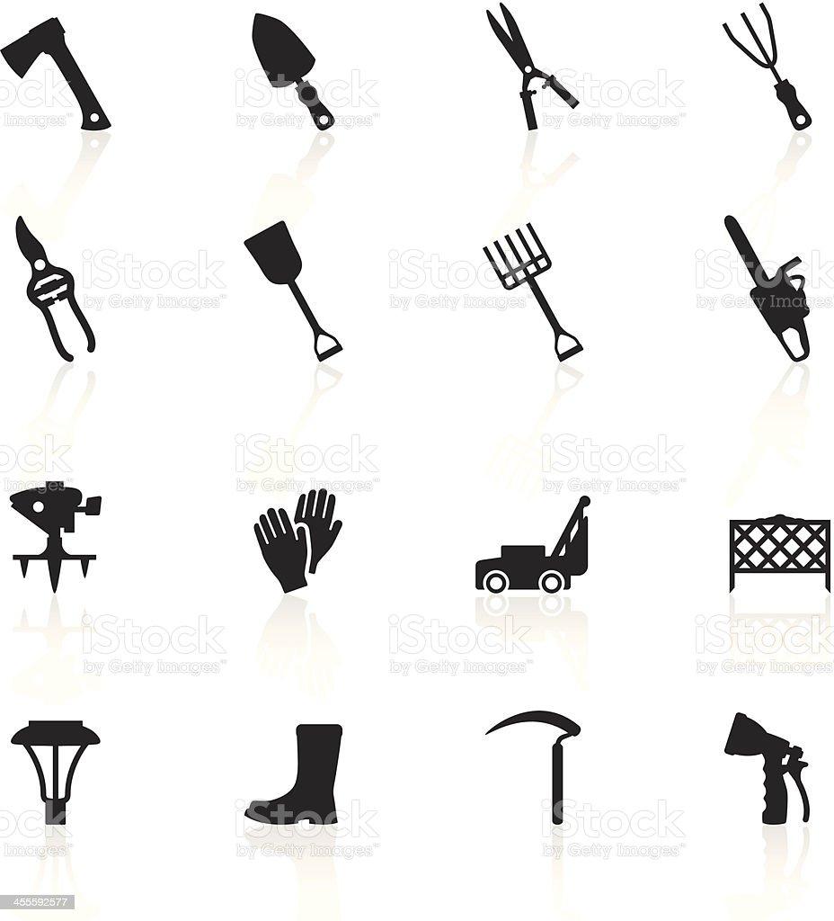 Black Symbols - Lawn & Garden Tools vector art illustration