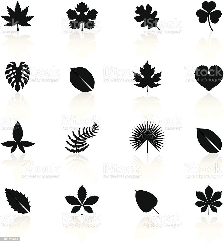 Black Symbols - Leaves vector art illustration
