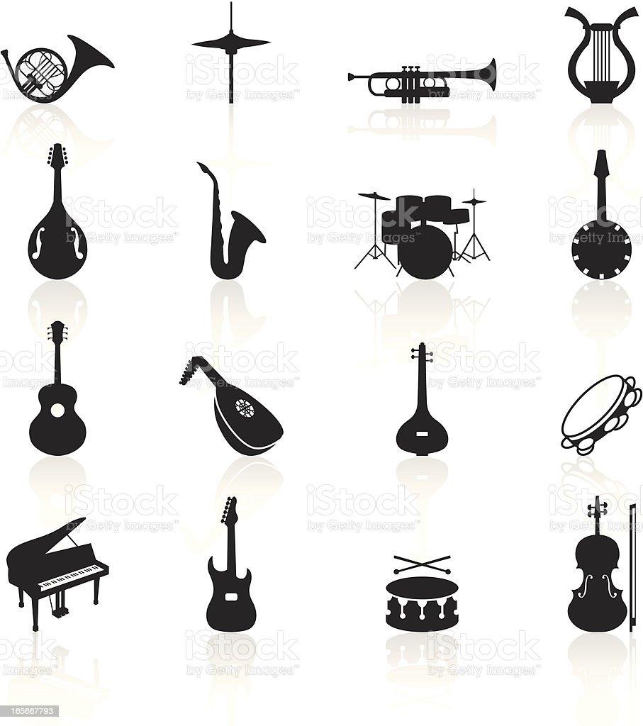 Black Symbols - Musical Instruments royalty-free stock vector art