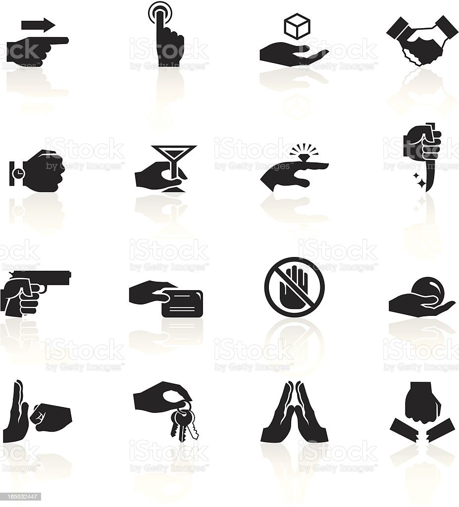 Black symbols of hands doing various things vector art illustration