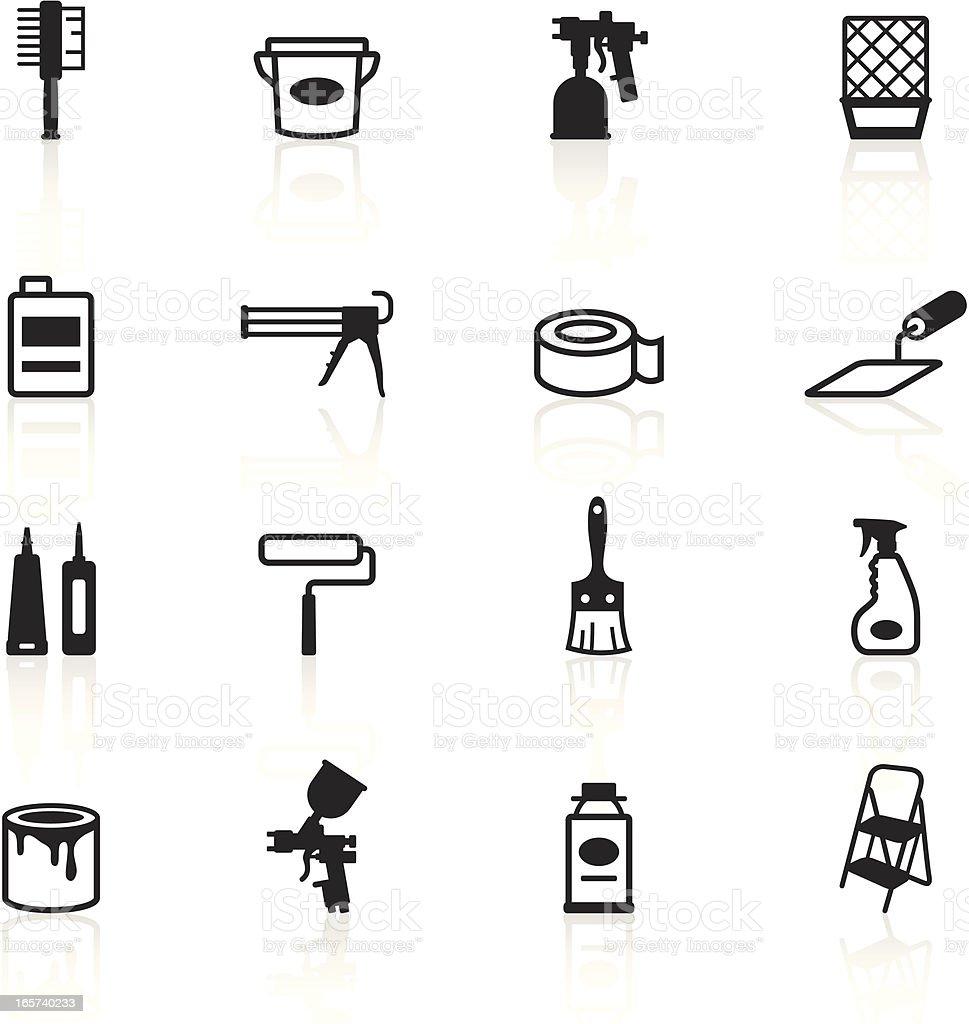 Black Symbols - Painting Tools vector art illustration