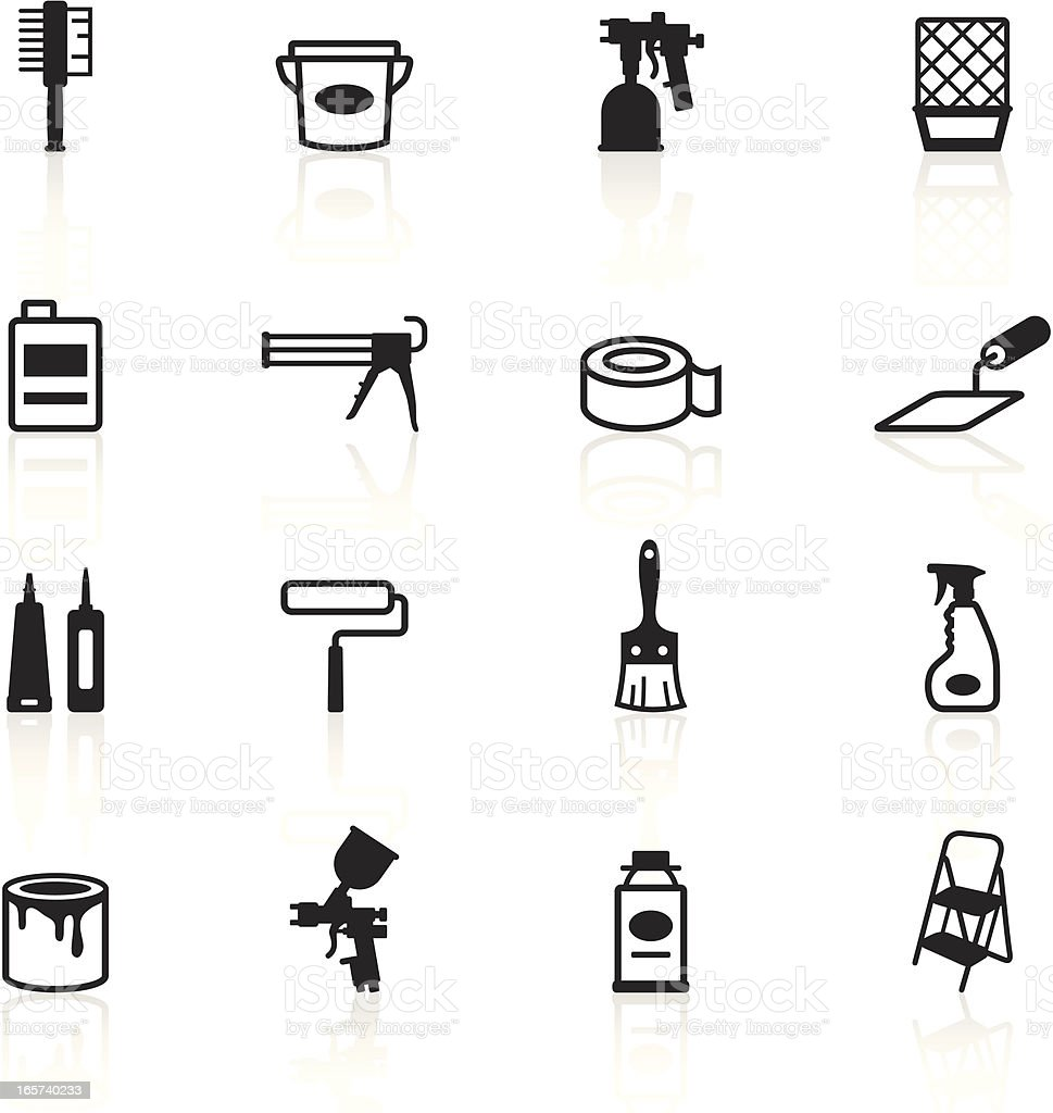 Black Symbols - Painting Tools vector art illustration