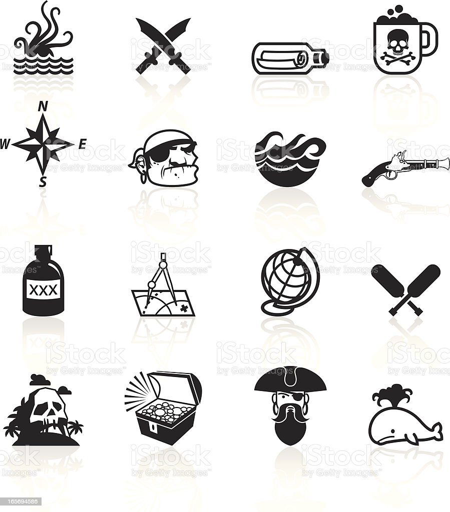 Black Symbols - Pirates vector art illustration