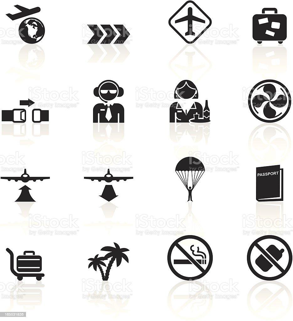 Black Symbols - Plane Travel royalty-free stock vector art