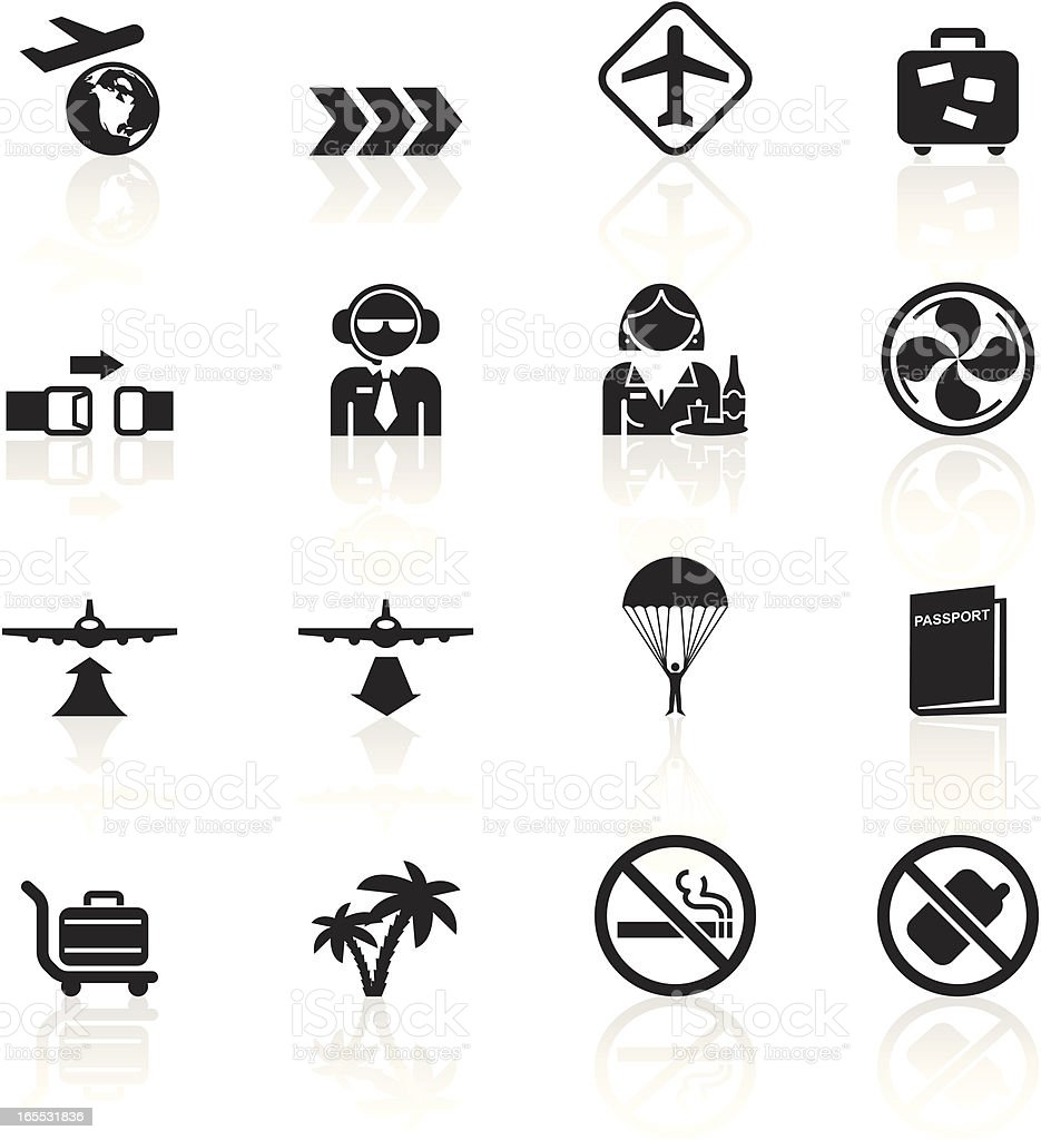 Black Symbols - Plane Travel vector art illustration
