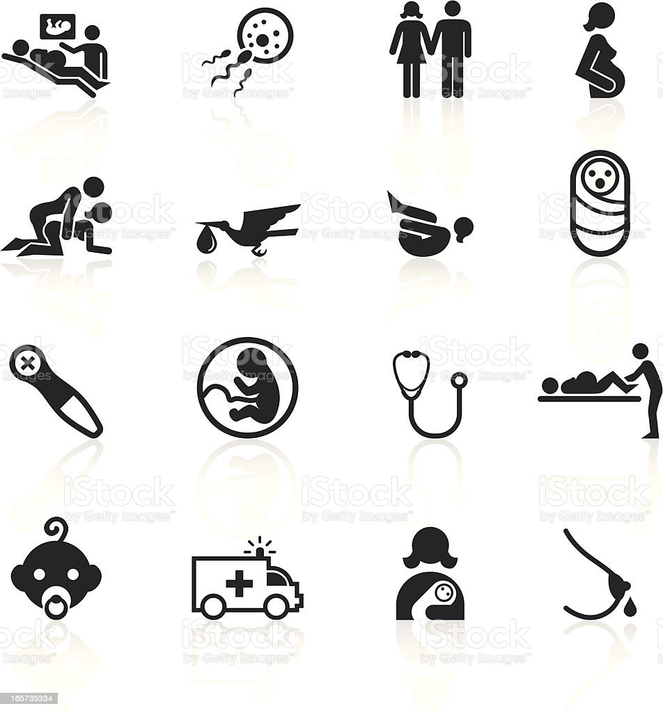 Black Symbols - Pregnancy and Childbirth royalty-free stock vector art