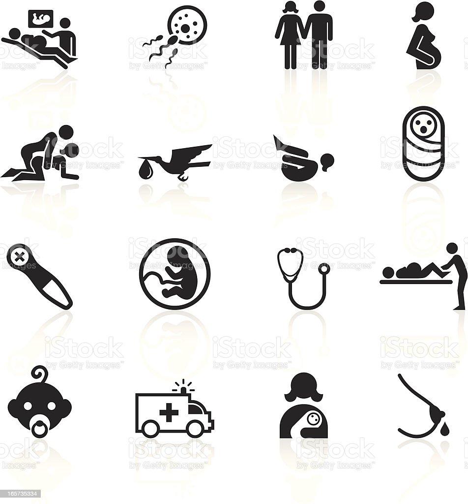 Black Symbols - Pregnancy and Childbirth vector art illustration