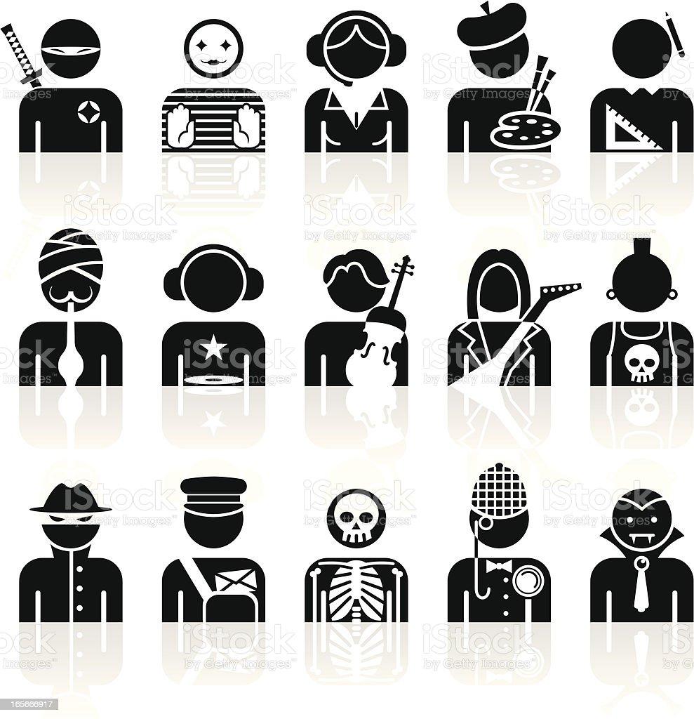 Black Symbols - Professions vector art illustration