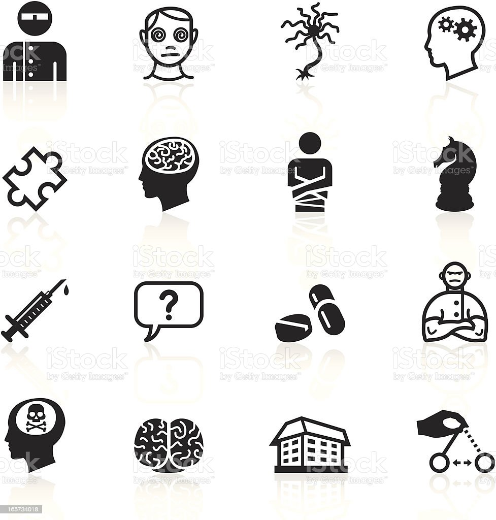 Black Symbols - Psychology & Psychiatry vector art illustration