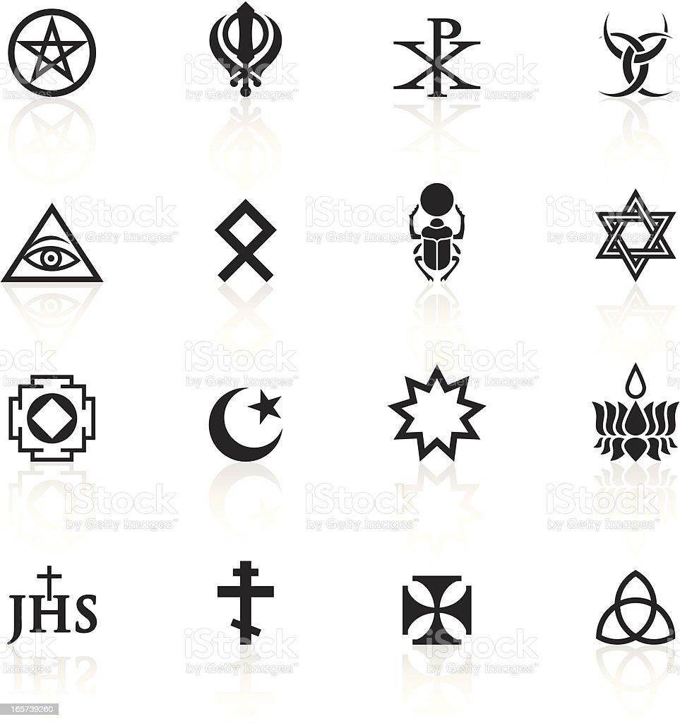 Black Symbols - Religious Marks vector art illustration