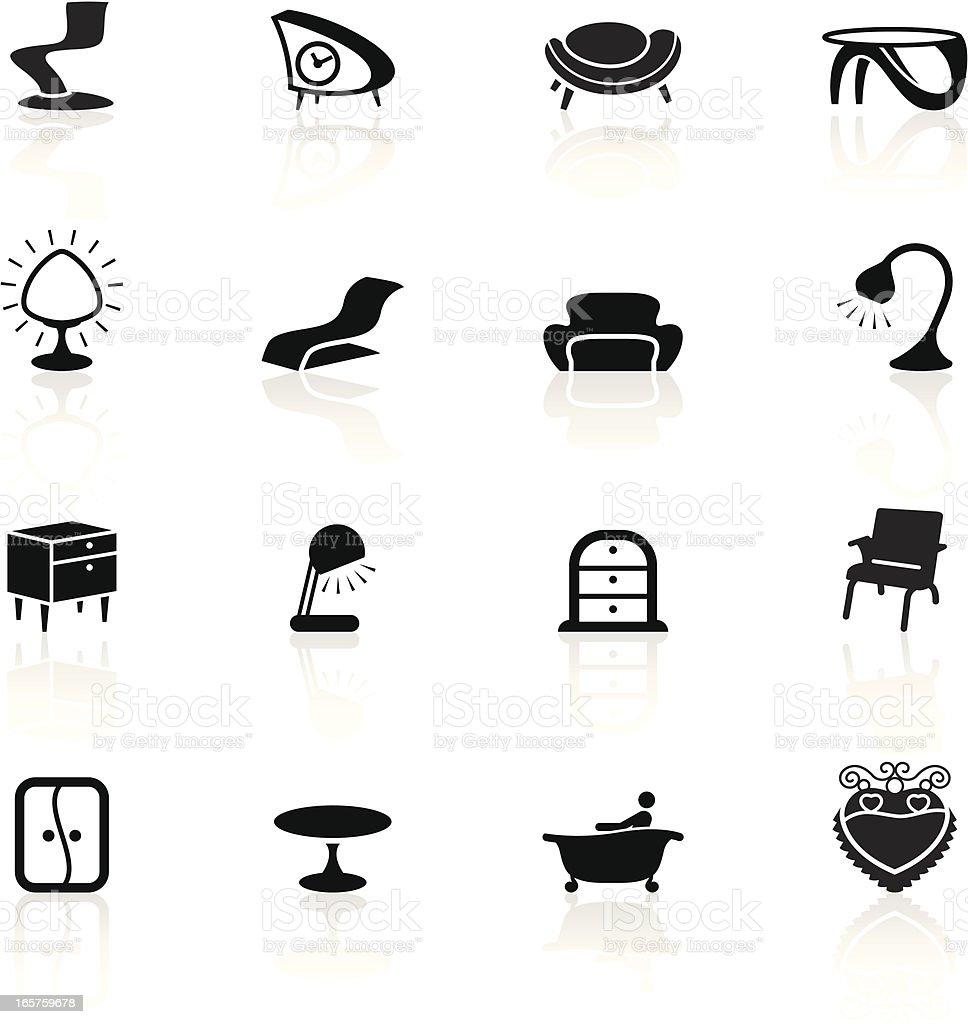 Black Symbols - Retro Furniture royalty-free stock vector art