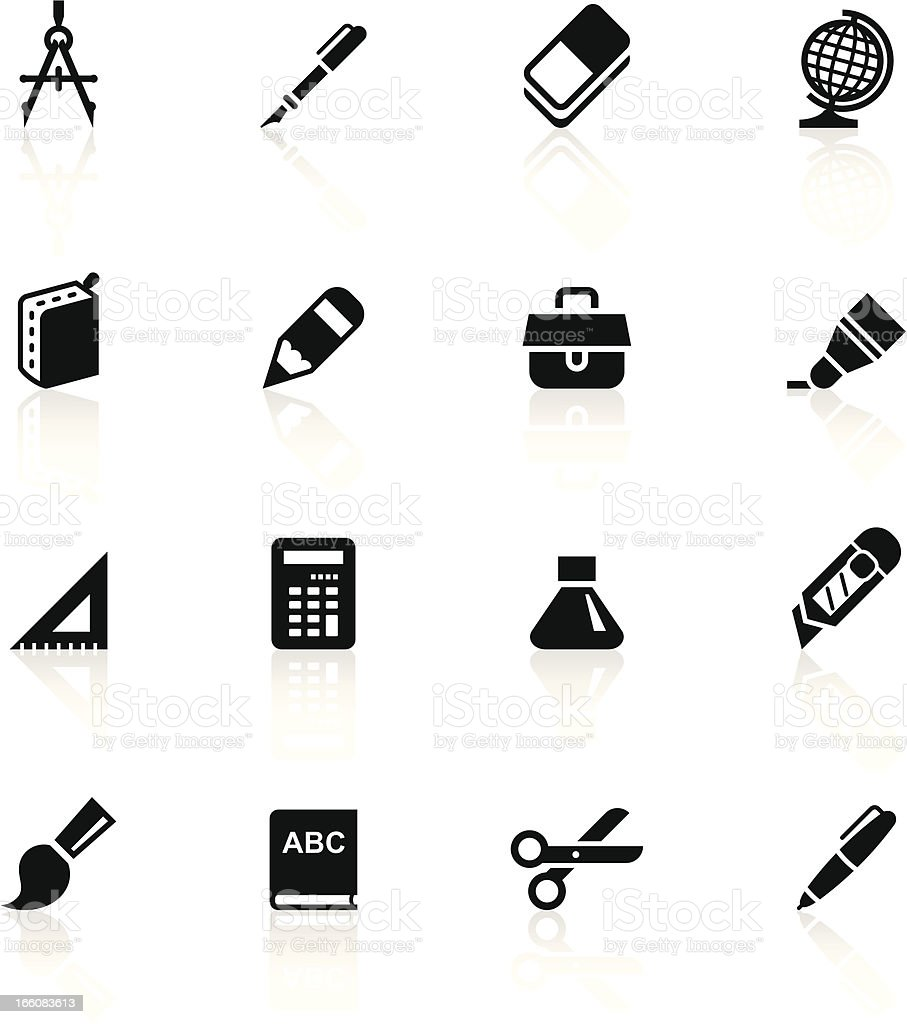 Black Symbols - School Supplies vector art illustration
