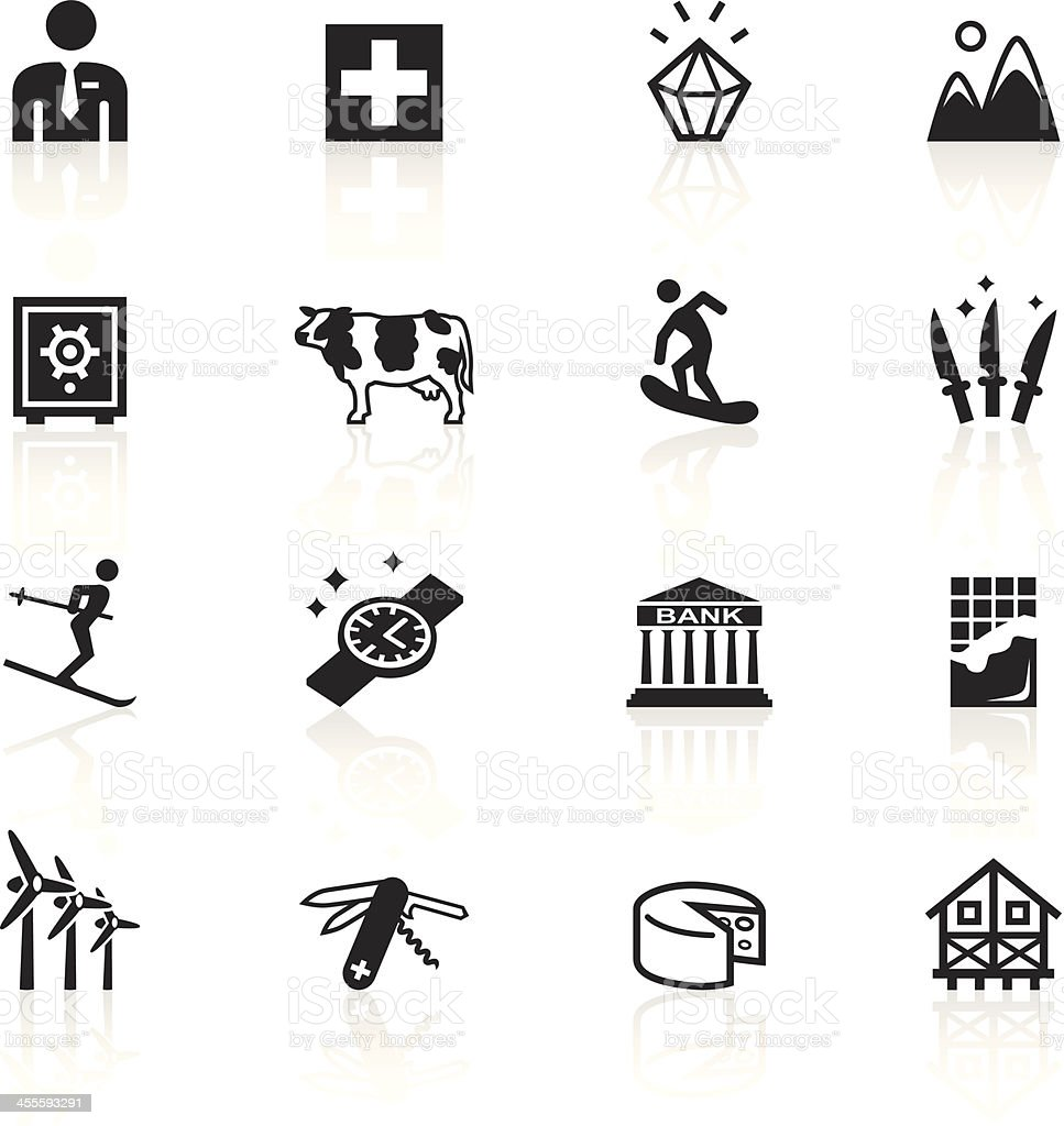 Black Symbols - Switzerland vector art illustration