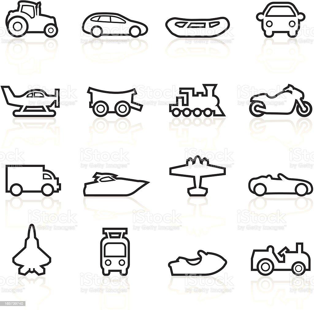 Black Symbols - Transportation Outlines royalty-free stock vector art