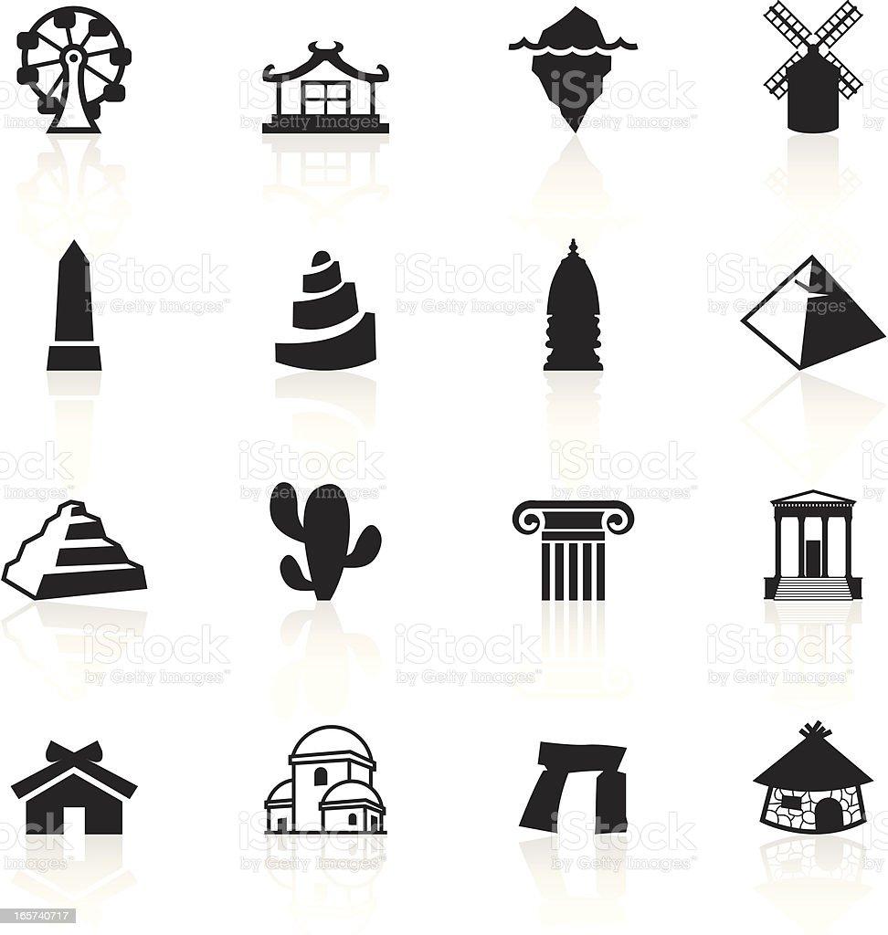 Black Symbols - Travel vector art illustration
