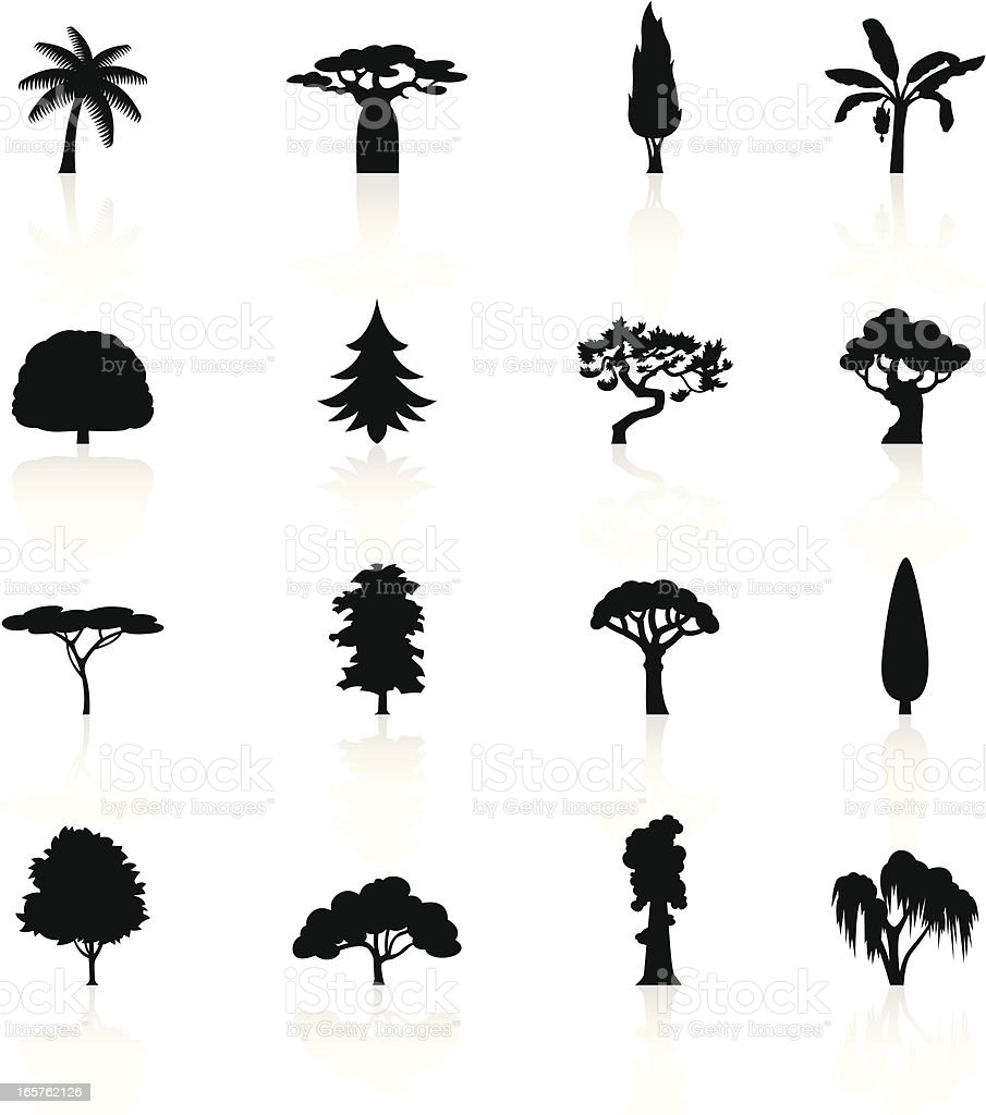 Black Symbols - Trees royalty-free stock vector art
