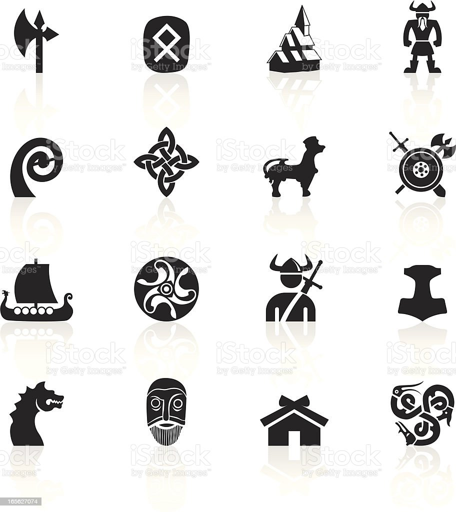 Black Symbols - Vikings vector art illustration