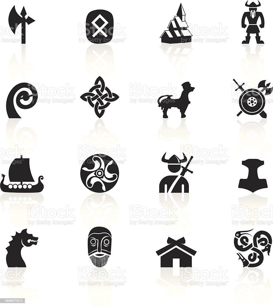 Black Symbols - Vikings vector art illustration