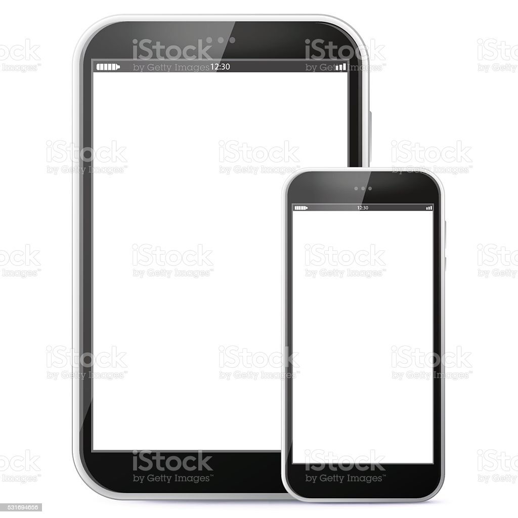 Black Tablet Computer and Mobile Phone vector art illustration