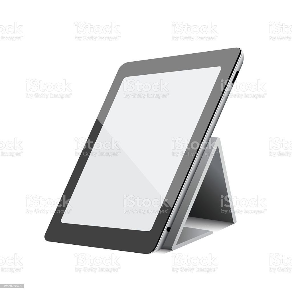 Black tablet computer pc on white background vector art illustration