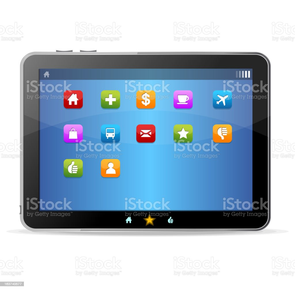 Black tablet like Ipade on white background and icons vector art illustration