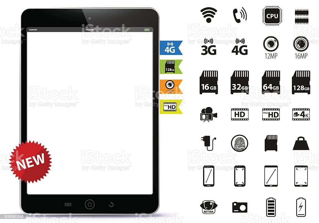 Black Tablet PC and Icons Set vector art illustration